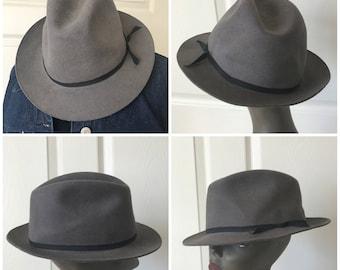Vintage Men's Grey wool fedora hat  X-Large