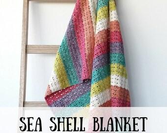 Gehaakte deken: Sea Shell Blanket, haakpatroon, haakpatroon deken, haakpatroon gehaakte deken, haakpatroon PDF, haakpatroon deken PDF