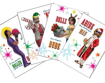 Big Lebowski Dude Walter Jesus Donnie Holiday Greeting Postcards