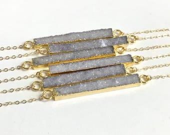 Druzy Bar Necklace, Druzy Necklace, Crystal Necklace, Druzy Jewelry, Rectangle Druzy Necklace, Boho Necklace, Bridesmaid Gift, Drusy