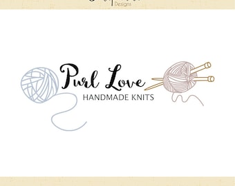 Premade Logo & Watermark // Yarn logo // Knit logo // Knitting Needles Logo // Blog // Knitter logo design  // Solipandi Design Studio//#028