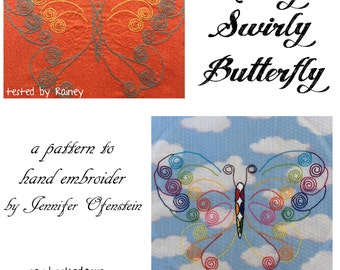 Curly Swirly Butterfly to Hand Embroider