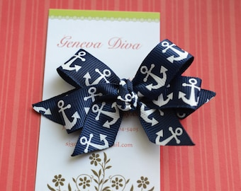 Navy with White Anchors MINI Diva Bow