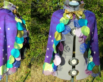 Mardi Gras Cape, moon, dancer, stars, on a hand dyed purple background. One of a kind costume piece.