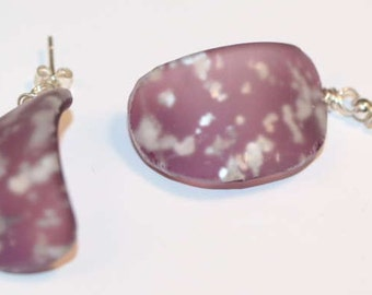 Antique Sandwich Glass Vasa Murrhina Silver Spangle Earrings