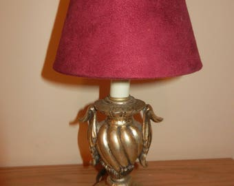 Gold Metal Vintage Mini Lamp, shown with Ruby Shade, Lamp only, Shade may be purchased separately.