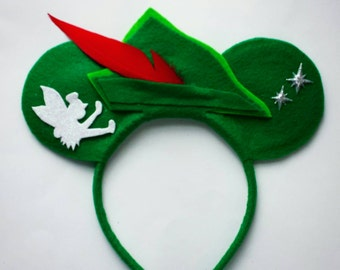 Peter Pan Minnie Mouse inspired ears headband tinkerbell/green/neverland/feather/star