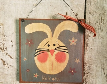 Primitive Spring Decor, Bunny, Primitive Easter, Spring Rabbit, Country Bunny, Hand Painted Bunny, Primitive Decor, Country Primitive