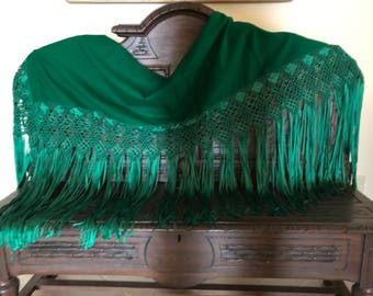 Beautiful, Kelly Green, hand made shawl.