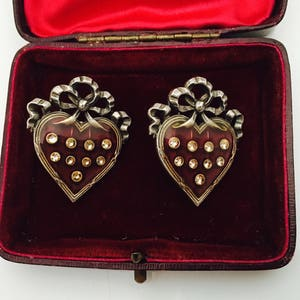 Vintage Heart and Silver Bow Pierced Earrings, Red and Rhinestones