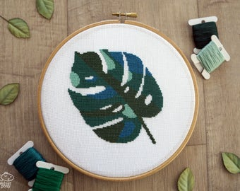Cross Stitch Pattern Modern - Monstera Leaf, Home Plants Counted Cross Stitch Chart, Leaves Embroidery Pattern, PDF Format, Instant Download