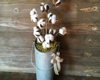 Metal vase with cotton stems, Galvanized metal decor, Cotton decor, farmhouse decor, rustic decor, farmhouse floral decor, rustic florals