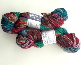 hand dyed yarn, bulky superwash merino in green, red, brown, teal
