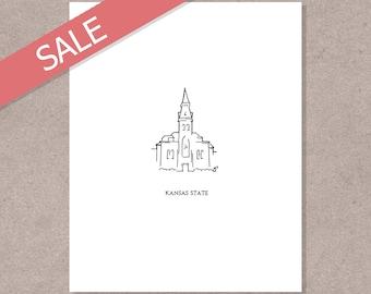 Kansas State Anderson Hall Minimalist Print (Sale)