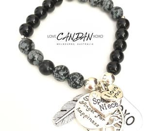 I Love You Niece With Guardian Angel For Happiness Tree of Life and Angel Feather xoxo Charms great Gift Idea