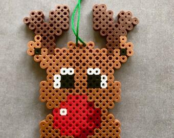 Rudolph Reindeer Perler Bead Ornament, Christmas Reindeer, Perler Bead, Perler, Ornament, Christmas, Pixel, 8 bit, Perler, Rudolph, Gamer