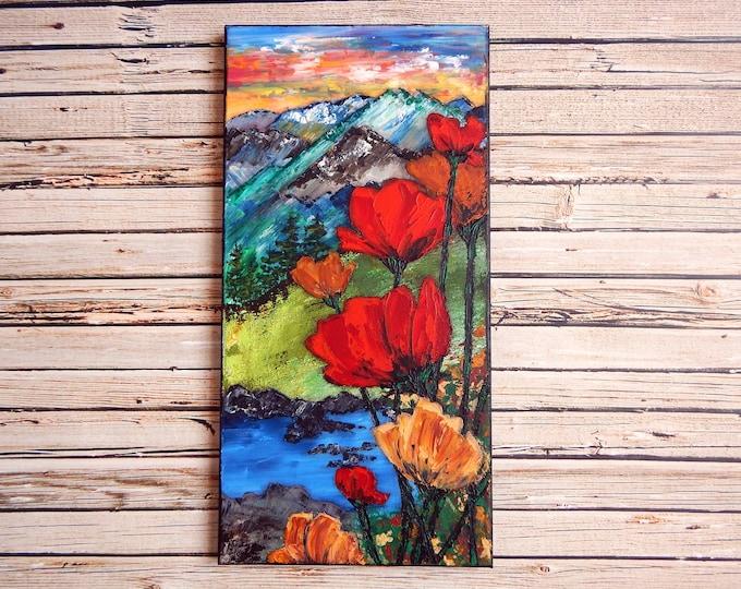 "Poppy Canvas Art | Landscape Painting | Poppy Art | Mountain Painting | 10x20 | ""Demeter's Gifts"" | Saltons Cove Studio"