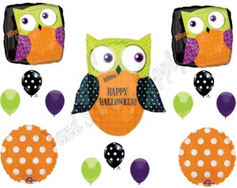 OWL HALLOWEEN Party Balloons Decoration Supplies Trick Or Treat Pumpkin