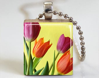 Tulip Flowers - Scrabble Tile Pendant - Free Ball Chain or Key Ring