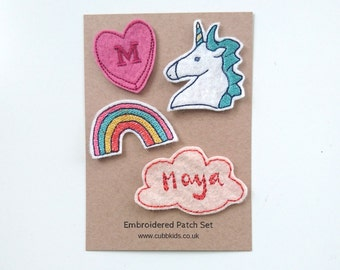 Personalised Iron On Patch Set/Embroidered Patches/Custom Patches/Unicorn Patch/Kids Jacket Patches/Rainbow Patch/Sew On/Wool Felt