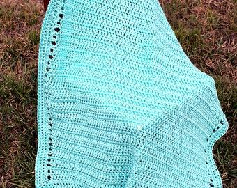 Crochet Receiving Blanket, Robins Egg Blue Baby Blanket, Afghan, Baby Girl , Baby Boy , Crib Toddler Blanket, Stroller Blanket
