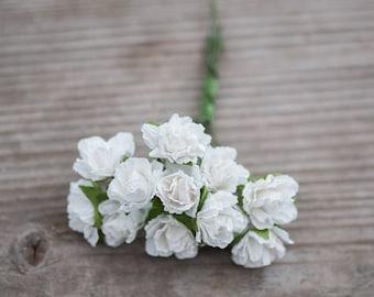 Miniature White Roses Wedding Decor Flowers Small White Roses Bohemian Mini Flowers DIY Craft Flowers Baby Shower Decor Wedding Cake Decor