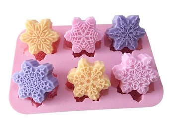 6-snowflake Flexible Silicone Mold For Handmade Cake Mold Soap Mould Candle Candy Chocolate Fimo Resin mold bath bomb mold
