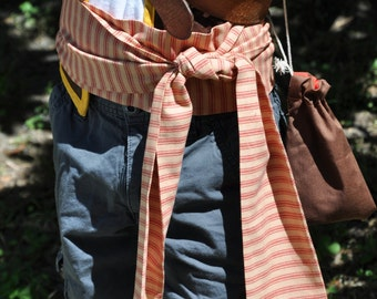 Pirate Sash- Red and Tan Stripes Woven Fabric. Pirate Belt. Striped Belt. Stripe Sash. Linen Sash.