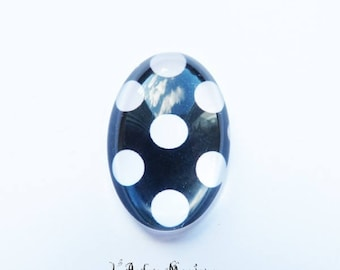 Cabochon glass 18 x 25 mm little spotted black and white