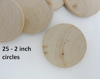 "25 Wood 2 inch Circles, wood disc, wooden disk 2"" x 1/4"" thick unfinished DIY"