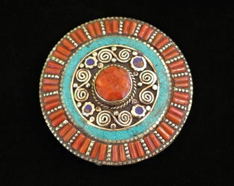 Circle Belt Buckle - Inlaid Turquoise, Coral and Amber Stones in Tibetan Silver 7957