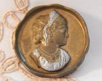 Womans Profile - Heavy White Metal Button  Large Size