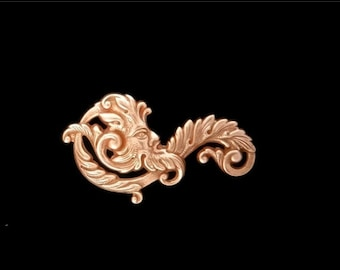 50off Green Man Fancy Leaf Scroll Filigree Copper Rose Gold Plated Brass Stamping Father Time 55mm x 30 mm- Qty 1 Left Made in the USA