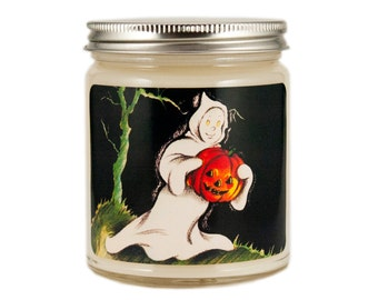 Halloween Candle, Scented Candle, Soy Candle, Vintage Halloween, Container Candle,  Halloween Decor, Halloween Ghost, Fall Candle