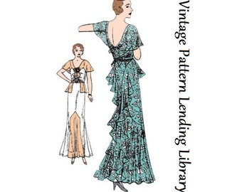 1930s Ladies Slip-Over Gown With Cascades - Reproduction Sewing Pattern #T3946