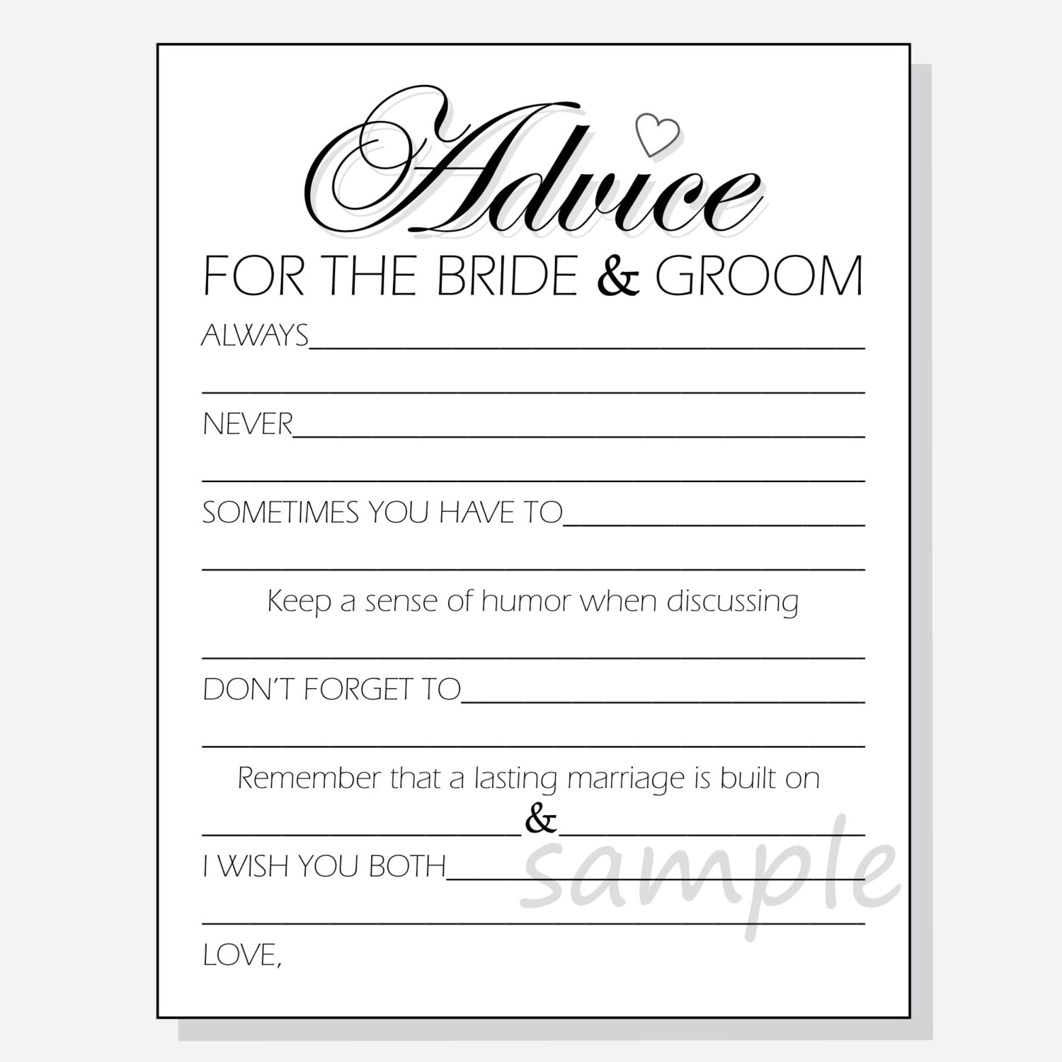 diy advice for the bride groom printable cards for a shower