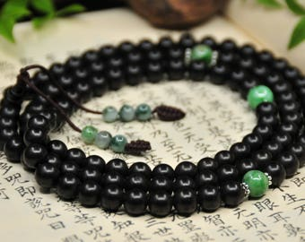 Mala of Agilawood and Jadeite (沉香·翡翠 念珠) -108 Mala Beads -Japa Mala -Prayer Beads -Yoga -Meditation -Mantra -Awakening -Energy