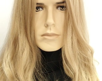 Long 14 inch Dirty Blonde Hair Men's Wig. Hippie, Grunge, Jesus Style Wig. Synthetic Costume Wig. [53-286-Russell-25]
