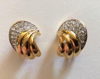 NINA RICCI Fabulous Vintage Rhinestone Clip On Earrings