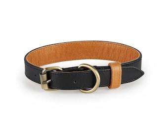 Hatteras Black Leather Dog Collar