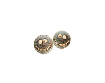 The ear earrings smile sreling silver and gold unique gift for girl for women