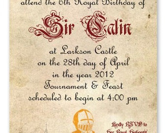Knight Birthday Invitation w/coordinating menu & place card