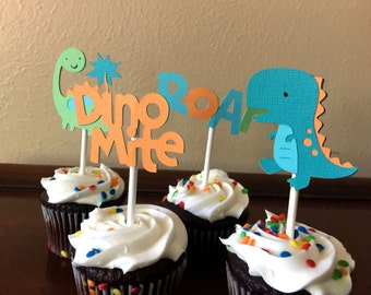 Dinosaur Cupcake Toppers, Dinosaur Birthday Party, Dinosaur Baby Shower, Dinosaur 1st Birthday, Dinosaur Party Decoration, Set of 12