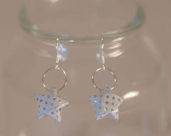 ⋆ White Origami earrings and silver dots