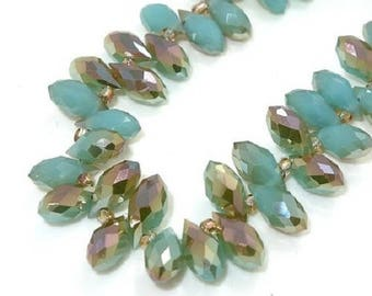 Glass faceted drops 6 * 12 mm multicolor jade