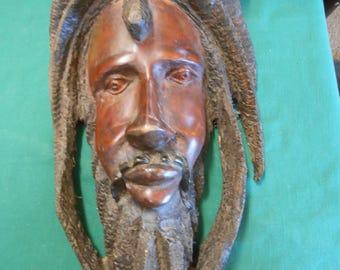 Rastafarian Wood Carving Wall Plaque #1