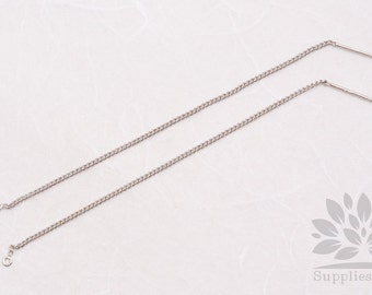 E238-R// Rhodium Plated Chain Earring, 4pcs