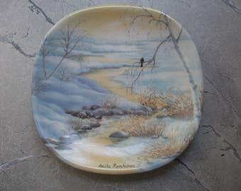 """Porcelain plate """"Winter in Archipelago"""" by Anita Rantanen, Arabia, Finland"""