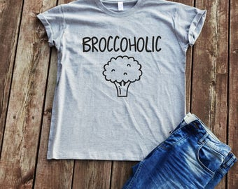 Broccoholic T-shirt Vegan funny t-shirt funny sayings t-shirt vegan shirt unisex t-shirt tumblr t-shirt cool broccoli t-shirt