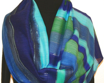 Silk Wool Scarf Hand Painted Blue Green Navy Blue Shawl ATLANTIC BLUES, by Silk Scarves Colorado. Select Your SIZE! Birthday, Christmas Gift